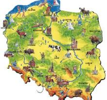 mapa Polski - turystyka
