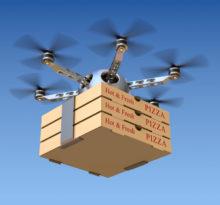 dron z pizzą